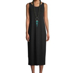 Eileen Fisher Sz M Long Silk Tank Dress Dark Teal